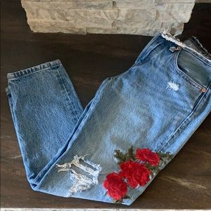 Levi's Tapered Embroidered Rose Jeans 🌹